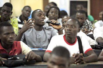 Youths at a talk